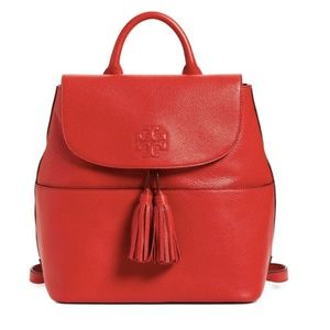 Tory Burch Red Thea Leather Backpack